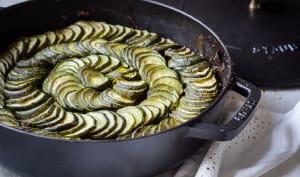 Tian de courgettes alsacien, pommes de terre et champignons
