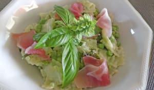 Salade de ravioles et petits pois sauce citron