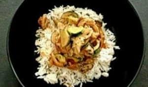 Riz courgette, champignons, lait de coco, pâte de curry rouge