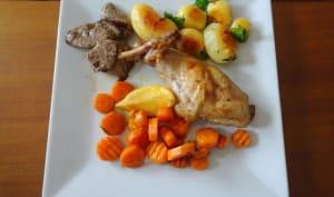 Cuisse de lapin à l'étouffée, carottes, romarin et citron