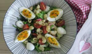 Salade de pâtes aux petits pois, haricots verts, tomates cerise, mozzarella et oeufs durs