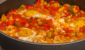 Chakchouka aux œufs et pois chiches