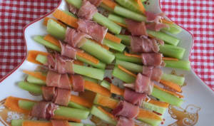 Bâtonnets de légumes au jambon cru