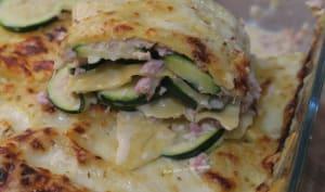 Lasagnes aux courgettes, jambon et poulet à la crème
