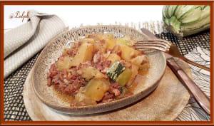Courgette, pommes de terre et lardons