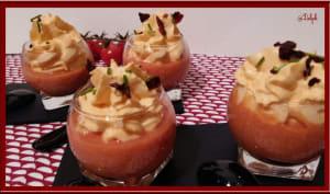 Crème de tomates cerises et chantilly de chorizo