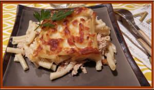 Gratin de macaronis au thon et curry