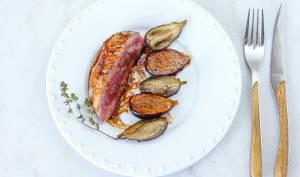 Filet de canette poêlé, aubergines et figues confites
