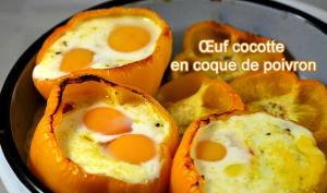 Œuf cocotte en coque de poivron jaune