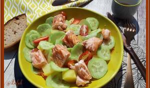 Salade de pommes de terre, concombre et saumon