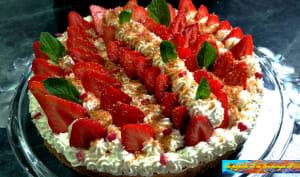 Tarte aux fraises sur fond de sablé breton