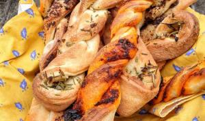 Tresses de pain au levain aux herbes, nduja, olives