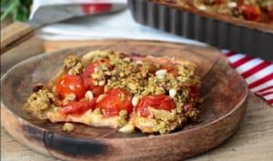 Tarte à la tomate cerise et crumble au pesto
