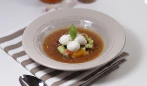 Gaspacho et tartare de légumes à la mozzarella