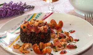 Salade de lentilles aux écrevisses et crème de tomates du jardin