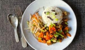 Carottes et tofu au piment d'Espelette