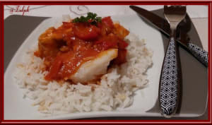 Pavés de saumon et cabillaud façon basquaise
