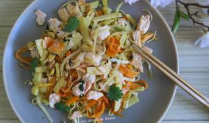 Poêlée de nouilles aux légumes et saumon