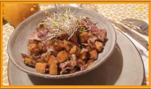 Poêlée de patate douce et jambon sec
