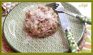 Risotto aux petits pois, jambon et tomates confites