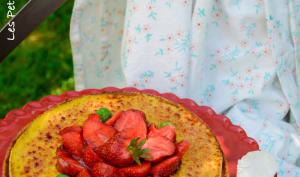 Tarte aux fraises, crème brûlée au basilic