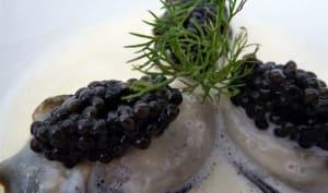 Huîtres chaudes au caviar