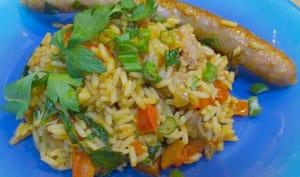 Riz pilaf aux saucisses et au paprika