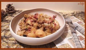 Poêlée de chou vert, pommes de terre et lardons