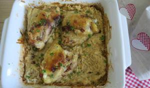 Hauts de cuisses de poulet au four, façon risotto au parmesan