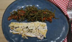 Dos de cabillaud aux salicornes et tomates séchées