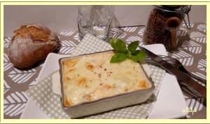 Flan de poireaux, saumon et mozzarella