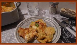 Gratin de poireaux, carotte, pommes de terre et cabillaud