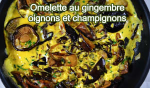 Omelette au gingembre, oignons et champignons
