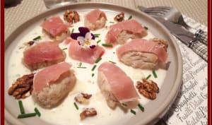 Crème de gorgonzola et gnuddi au gorgonzola et aux noix