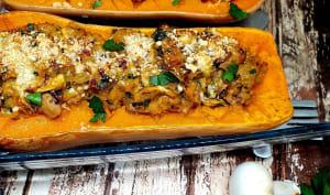Butternut farçie au veau, champignons et châtaignes