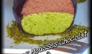 Sphères de mousses chocolat et pistache