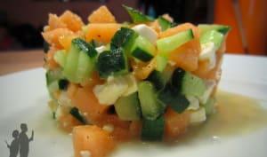 Tartare de melon, concombre et féta