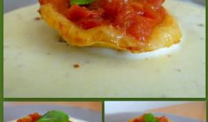 Tatin de tomates et balsamique et nage aux échalotes