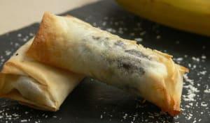Nems croustillants bananes chocolat noix de coco