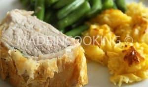 Filet mignon croustillant avec pommes Duchesse et haricots à l'ail