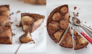 Clafoutis aux poires, chocolat et farine de châtaigne
