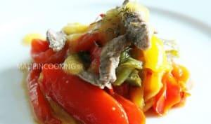 Salade de boeuf et aux poivrons confits sauce abricots