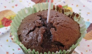 muffin au chocolat noir et coeur fondant au chocolat blanc