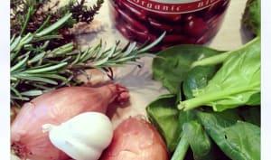 Epinards brocolis aux haricots rouges végétalien