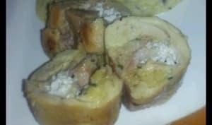 Haut de cuisse de poulet farcis et polenta aux champignons