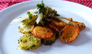 Légumes verts aux carottes pommes de terre rôties