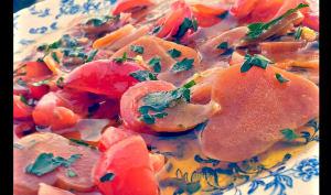 Tapa de poutargue marinée et tomates cerises