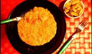 Dahl de lentilles corail et potato wedges ail/paprika