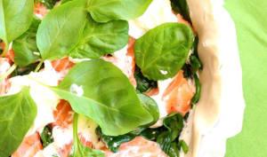 Tarte au saumon frais et jeunes pousses d'épinard