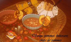 Soupe pommes, betterave, chips de pommes